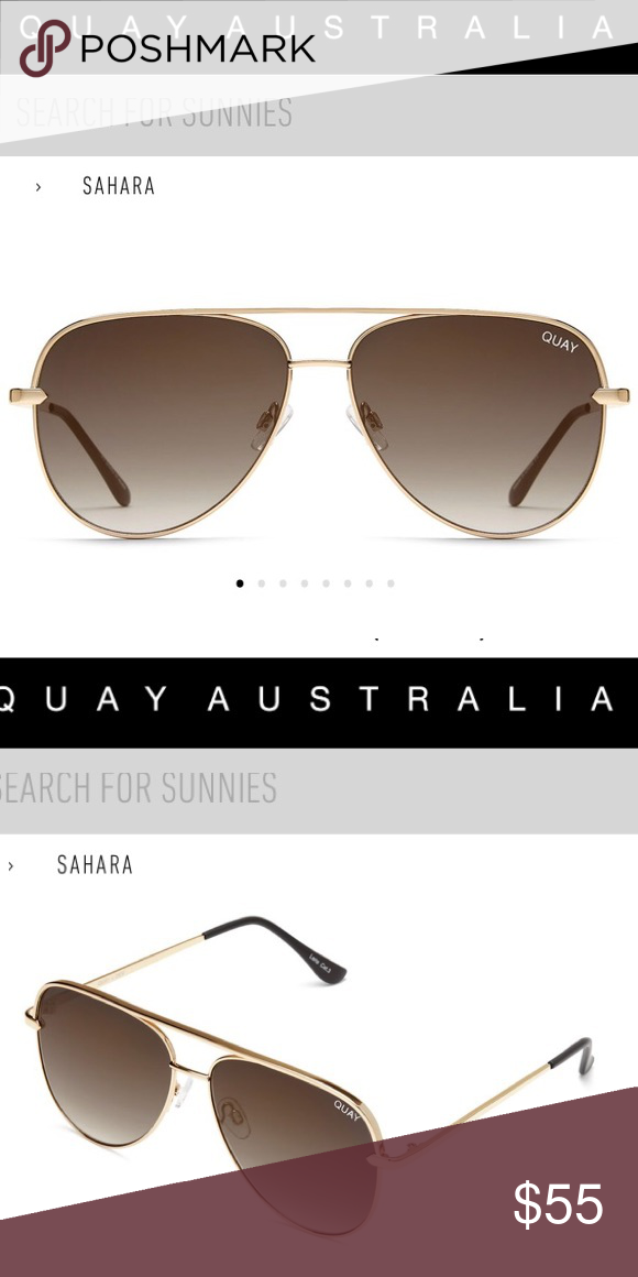 1abe97f1a0 Quay Sahara gold by desi perkins original size Quay Australia Sahara  original size sunnies in gold with smoke to taupe faded ombré lenses.