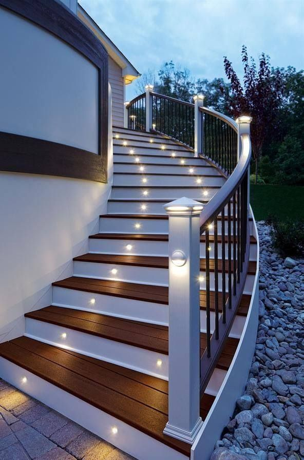 outdoor stairway lighting. Stair Lighting Is Both Effective And A Great Safety Feature// I Believed Will Have Big House With Stairs Lights One Day )) Outdoor Stairway