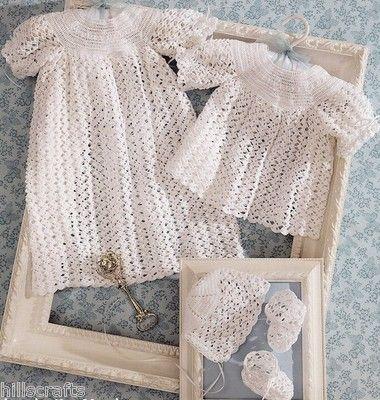 2 Baby Christening Sets Dress Dresses Gown Bonnet Booties Crochet
