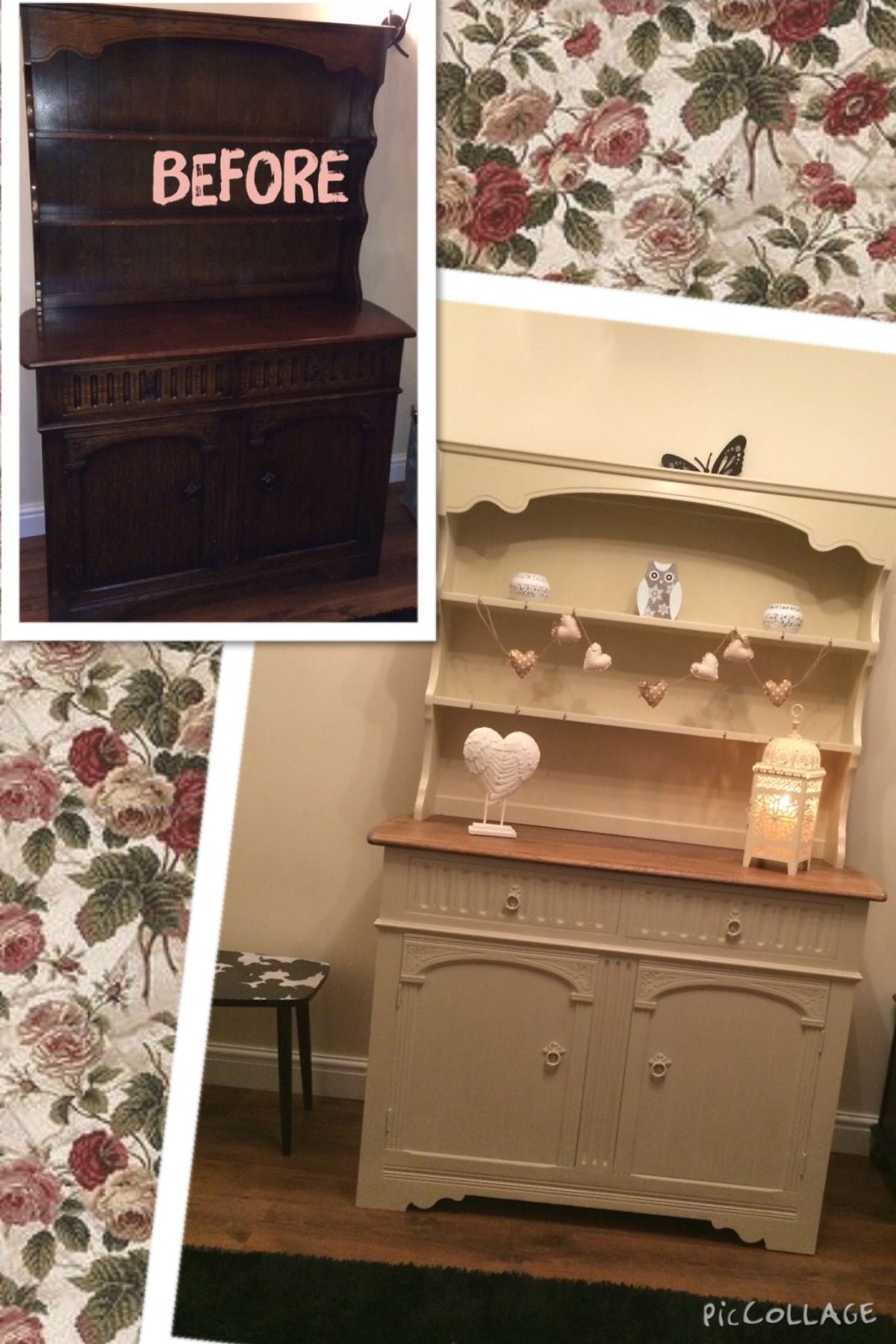 Shabby Chic Welsh Dresser Painted In Annie Sloan Old Ochre With Sanded Top