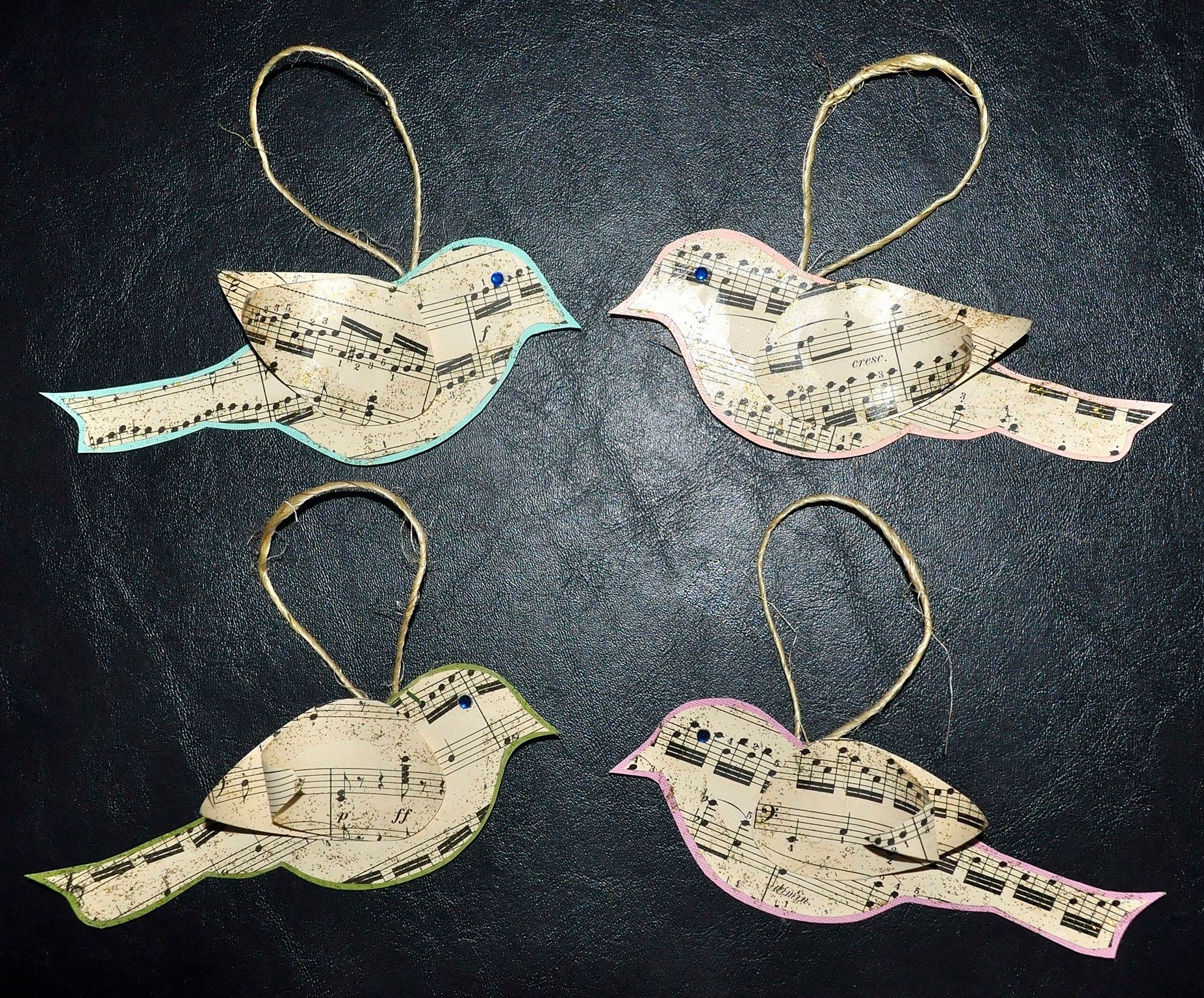 Bird Sheet Music Christmas Tree Ornaments