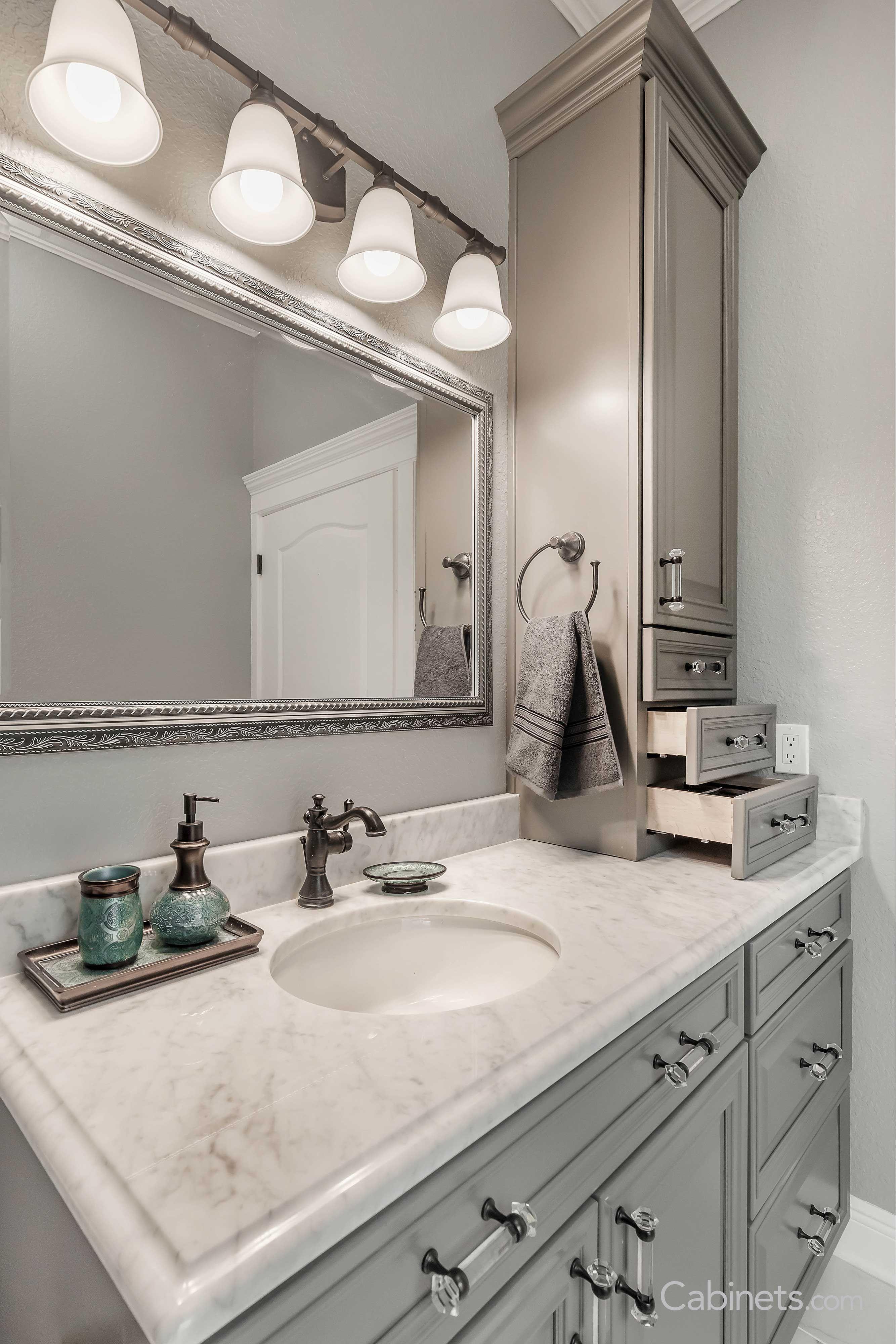 Stunning Elegant Bathroom Featuring Our Bronson Maple Creek Stone Cabinets Bathroom Vanity Designs Grey Kitchen Cabinets Kitchen Cabinets Makeover