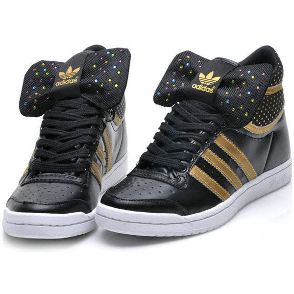 Cheap Women Adidas Bow Trainers Gold Black found on Polyvore