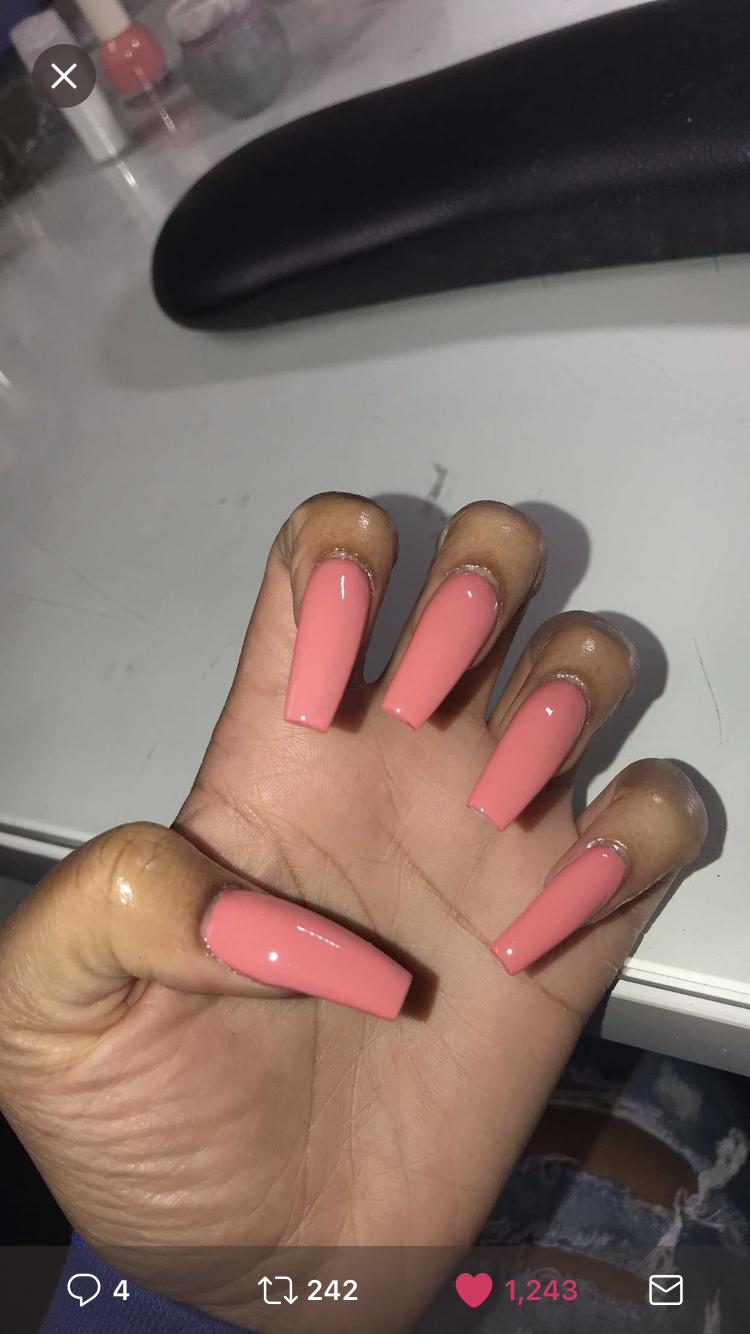 Beautiful Pink Long Nails Long Nails Gorgeous Nails Cute Acrylic Nails