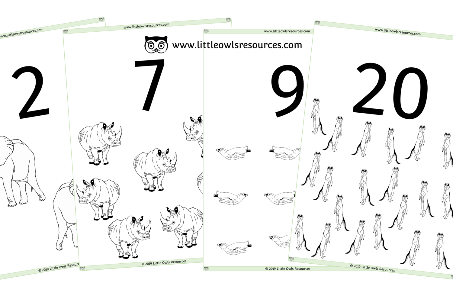 Free Zoo Animal Counting Colouring 0 20 Printable Early