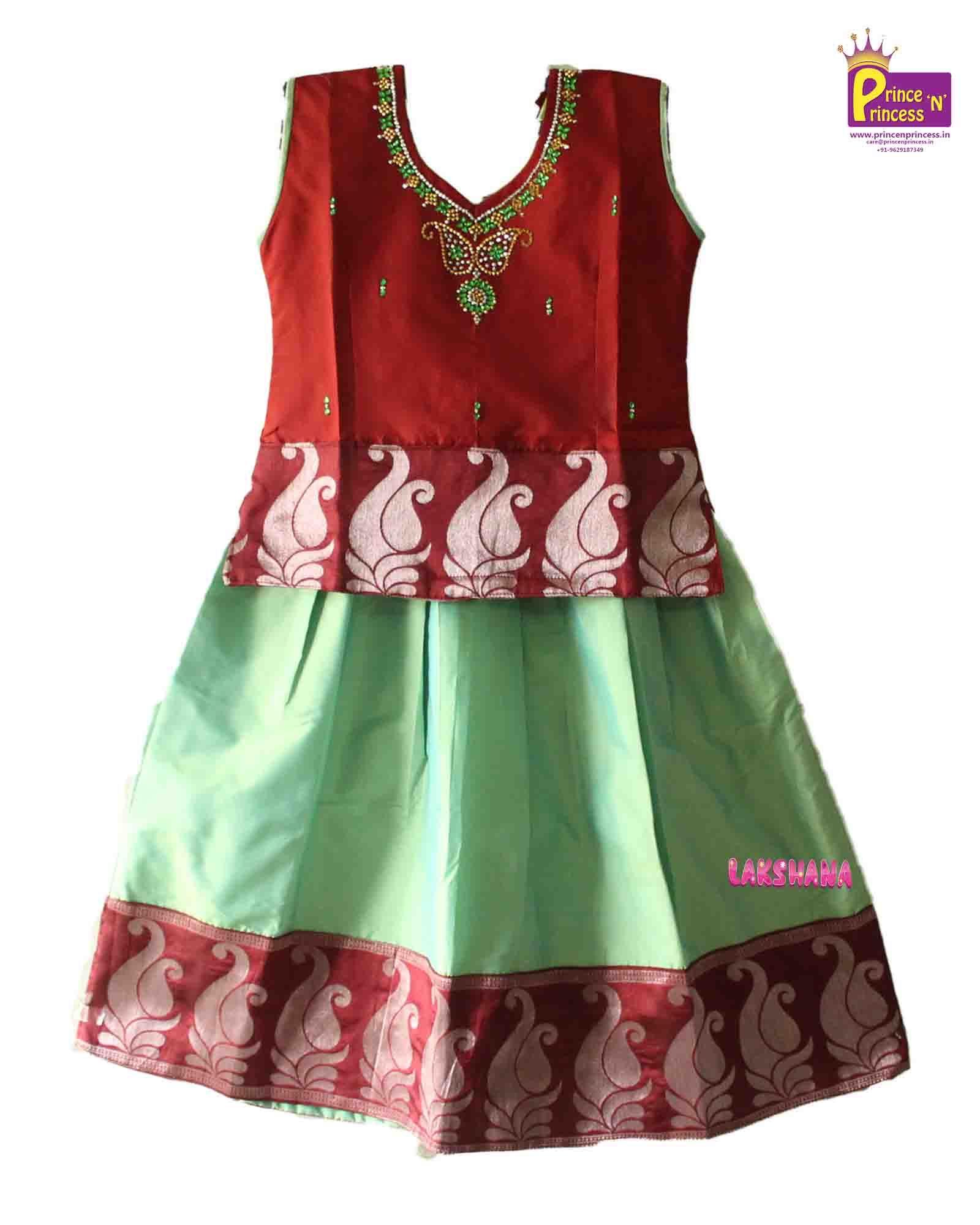 Kids Light Green Designer Traditional Pattu pavadai Langa from