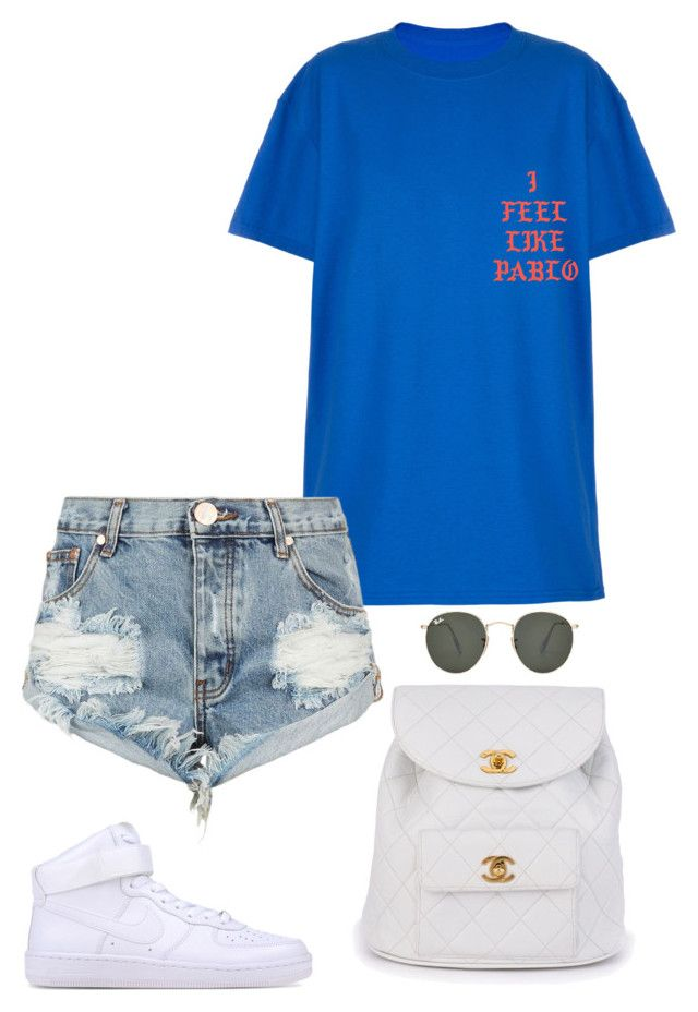 """Untitled #723"" by marjanne-mestilainen ❤ liked on Polyvore featuring One Teaspoon, NIKE, Chanel and Ray-Ban"