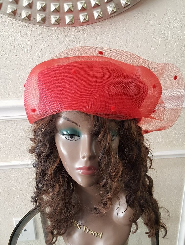 Women s Red Wool Pillbox Hat Net Church Red Hat Society Halloween Costume  USA  Pillbox Red Hat Society 00ae3a6571a