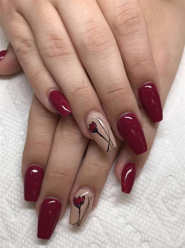 Day 331: Red Rose Nail Art | Idei unghii, Unghii artistice
