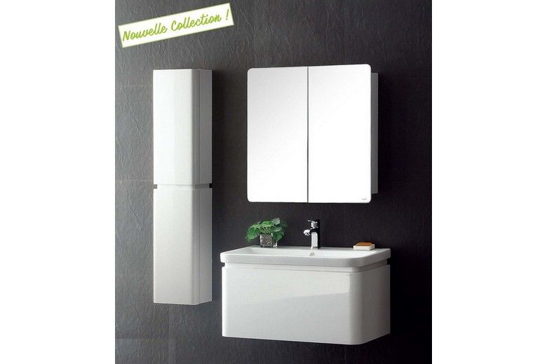 Meuble salle de bain simple vasque blanc laqué brillant, 90 cm