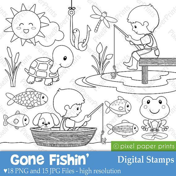 Gone fishin Digital Stamps por pixelpaperprints en Etsy ...