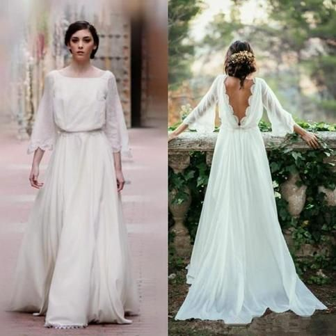 Ivory Chiffon Lace Long Elegant Beach Wedding Dresses,Flowy Backless Wedding Dresses