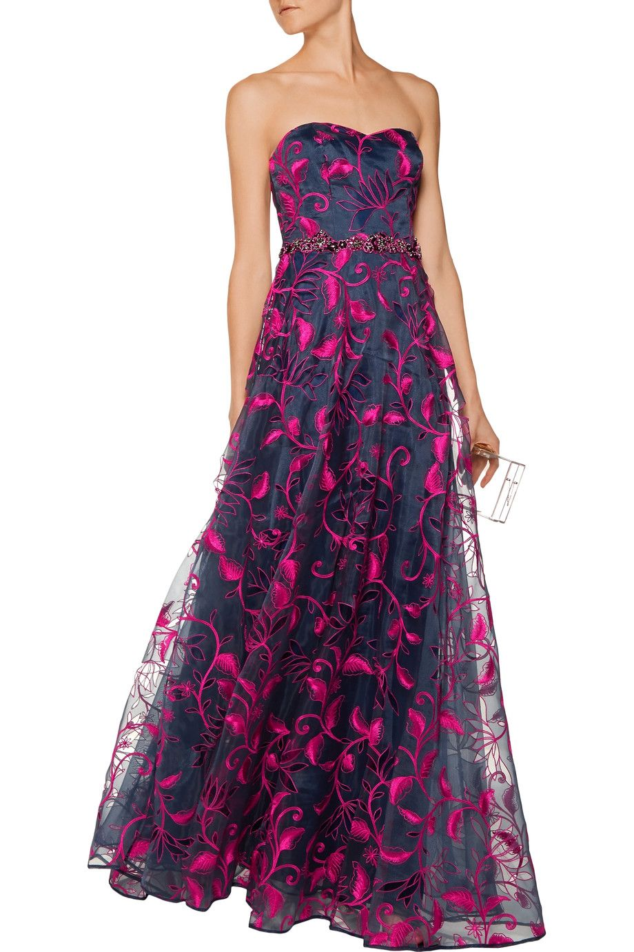 Shop on-sale Marchesa Notte Cutout embroidered organza gown. Browse ...
