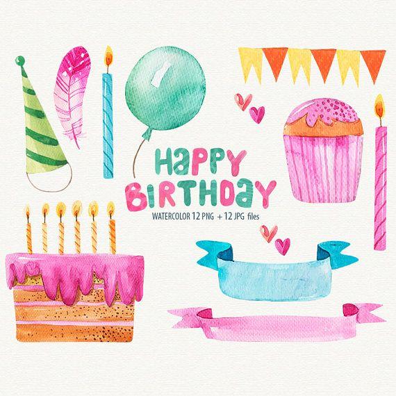 Watercolor Birthday Clipart Happy Birthday Cards Birthday Graphic