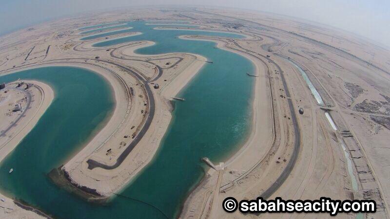 مخطط جوي على مدينة صباح الاحمد البحرية لؤلؤة الخيران المرحلة الرابعة Waves City Sabah
