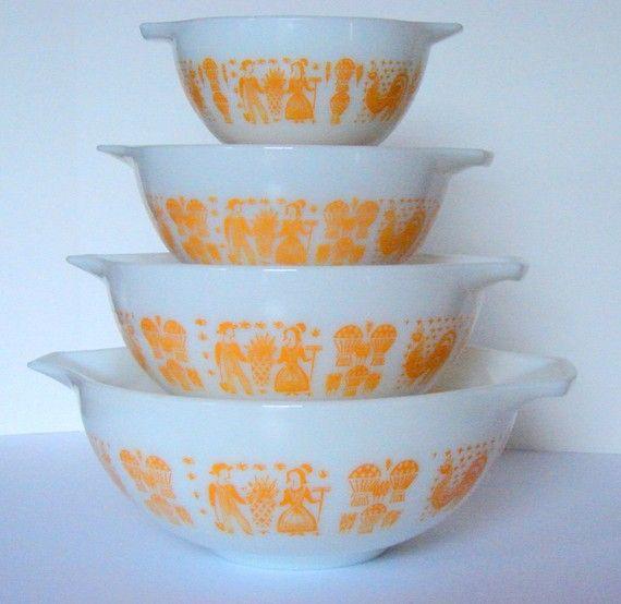 Rare and Vintage Pyrex Orange Yellow Butterprint Cinderella Complete ...