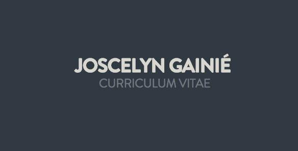 Curriculum vitae - Joscelyn Gainié