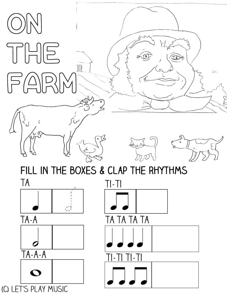 worksheet Music Fun Worksheets i went to visit a farm one day first nursery songs music songs