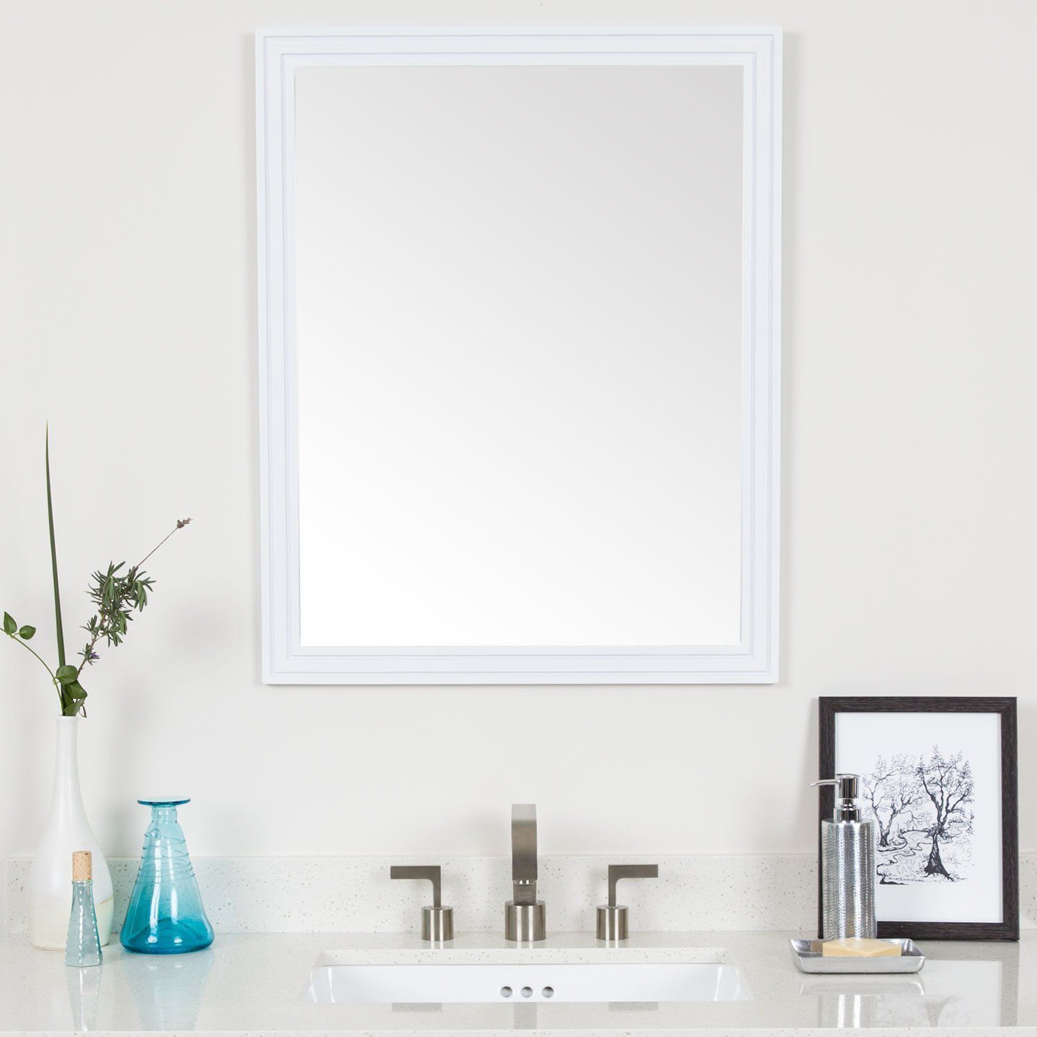 MAYKKE Cosette 30\' H x 24\' W Rectangle White Wall Decor Bathroom ...
