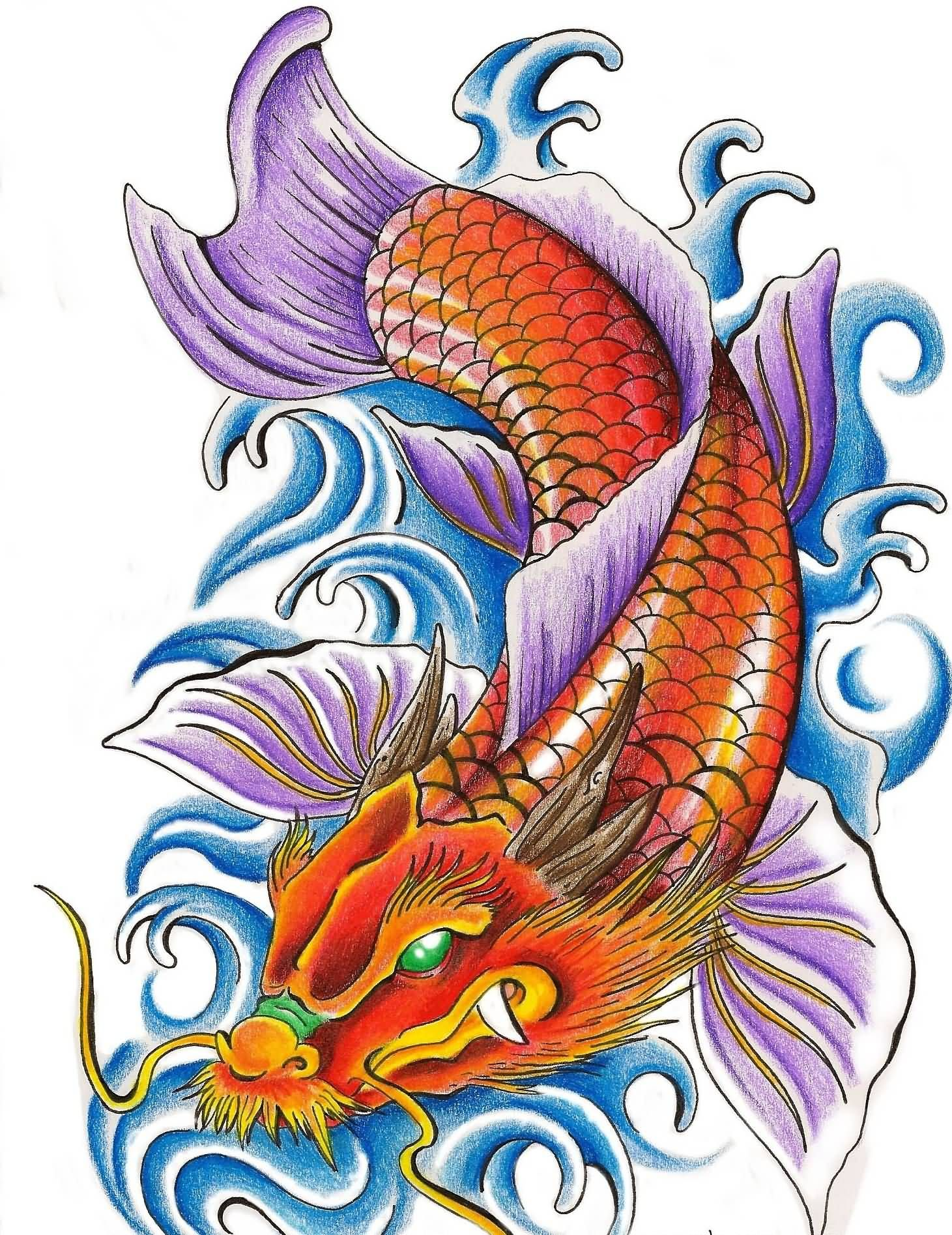 Color Water Waves And Dragon Fish Tattoo Design Koi Fish Drawing Tattoo Samurai Tattoo Design Traditional Owl Tattoos
