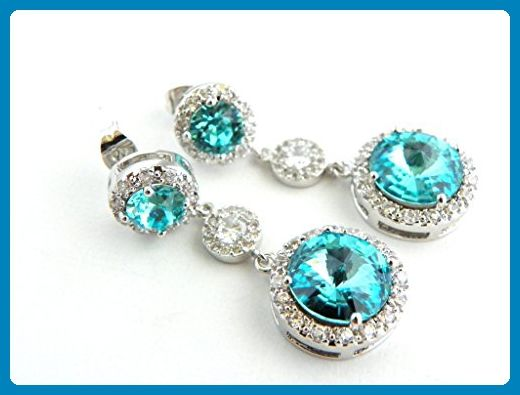 Aquamarine Bridal or Bridesmaid Wedding Earrings Light Blue Swarovski Crystal Jewelry Long Post Earings - Choose from Round or Oval Top - Bridesmaid gifts (*Amazon Partner-Link)