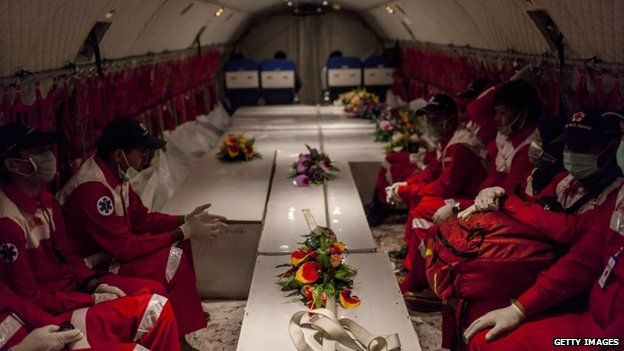 Red Cross officials watch over coffins of victims as they are returned to Surabaya, 2 Jan......http://www.bbc.com/news/world-asia-30664604