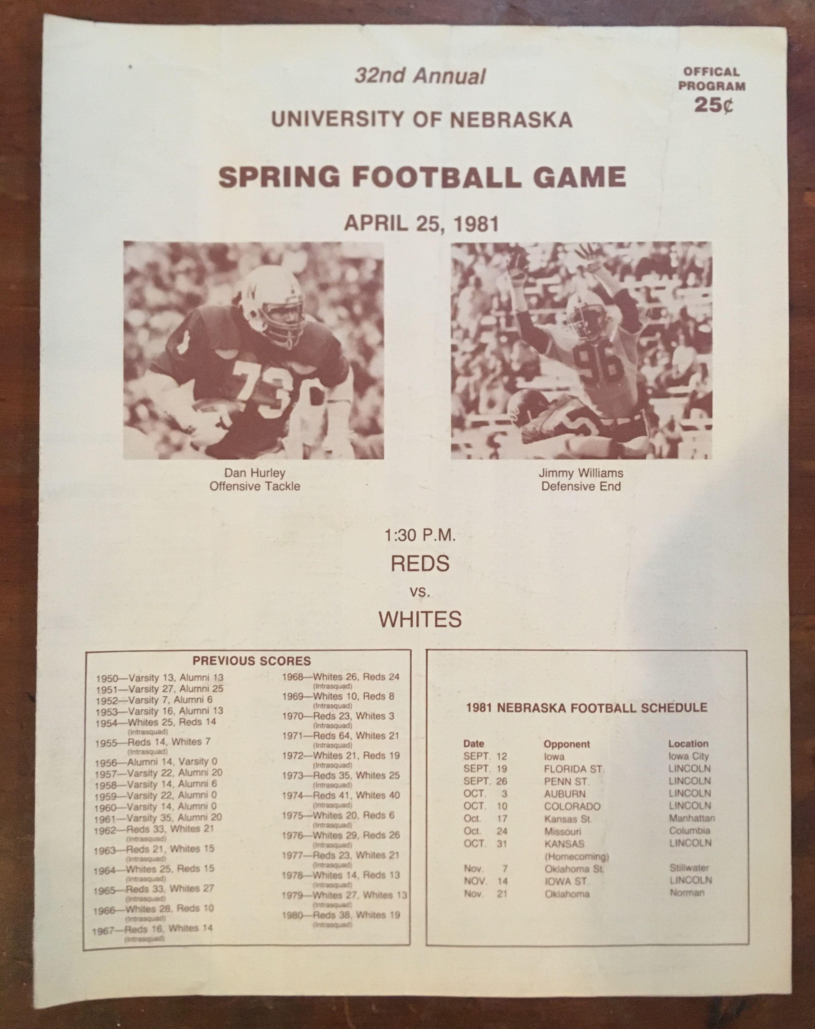 Nebraska Cornhuskers Football. Spring Game program from ...