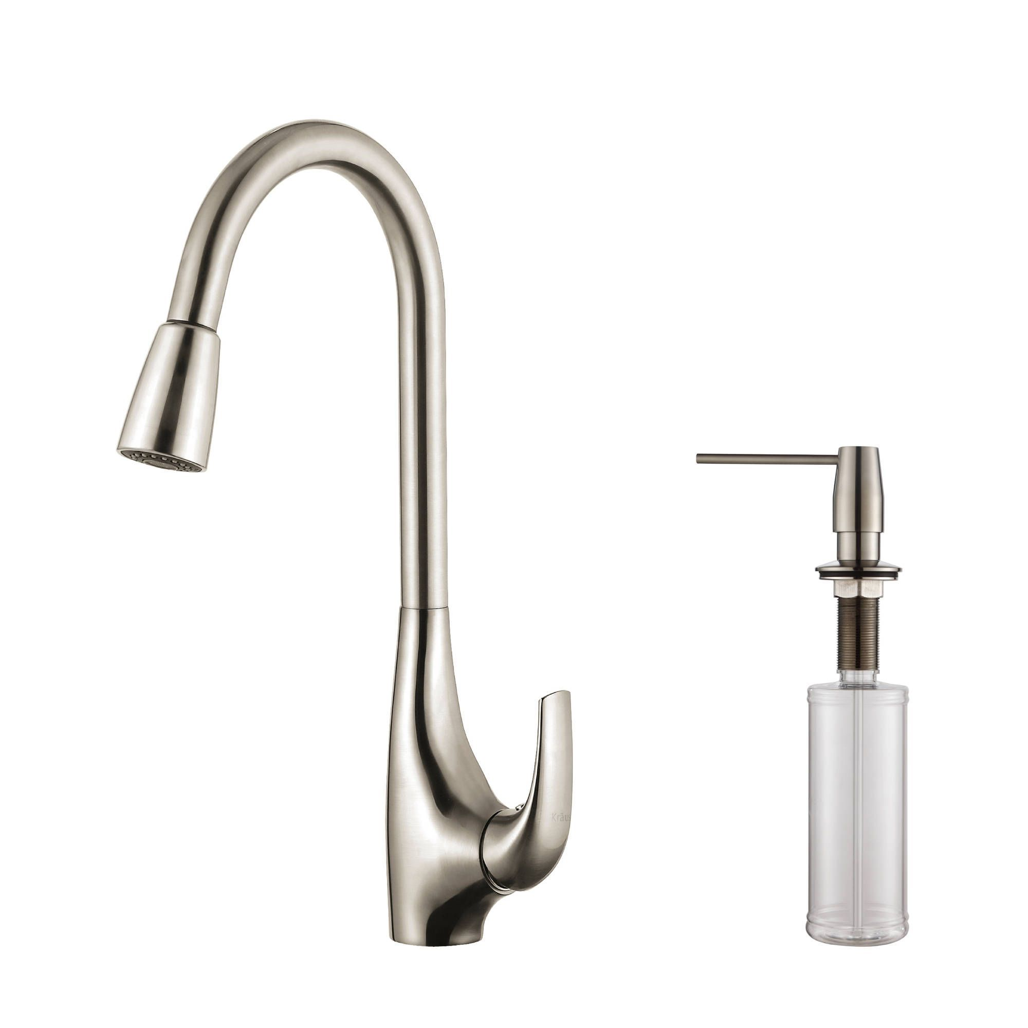 Kraus Single Lever Pull Down Kitchen Faucet and Soap Dispenser (ADA ...