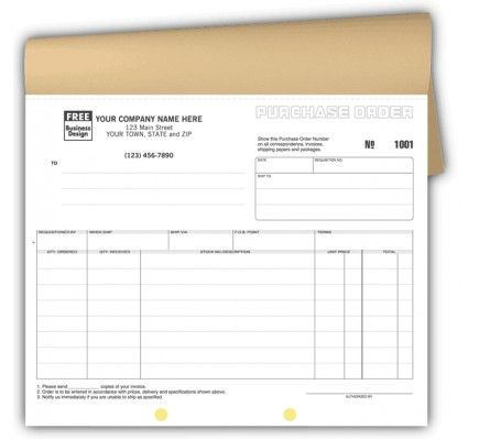 Purchase Order Caronless Forms 91B Looking to keep precise and - format purchase order
