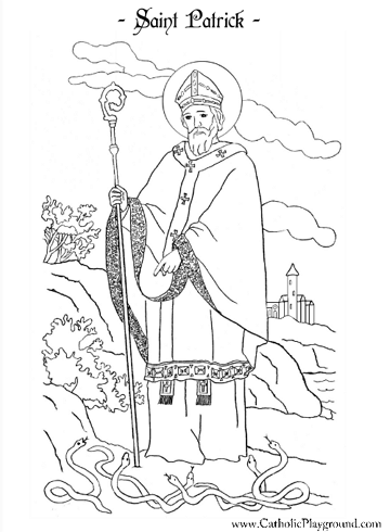 Saint patrick coloring page march 17th catholic for St valentine coloring pages catholic