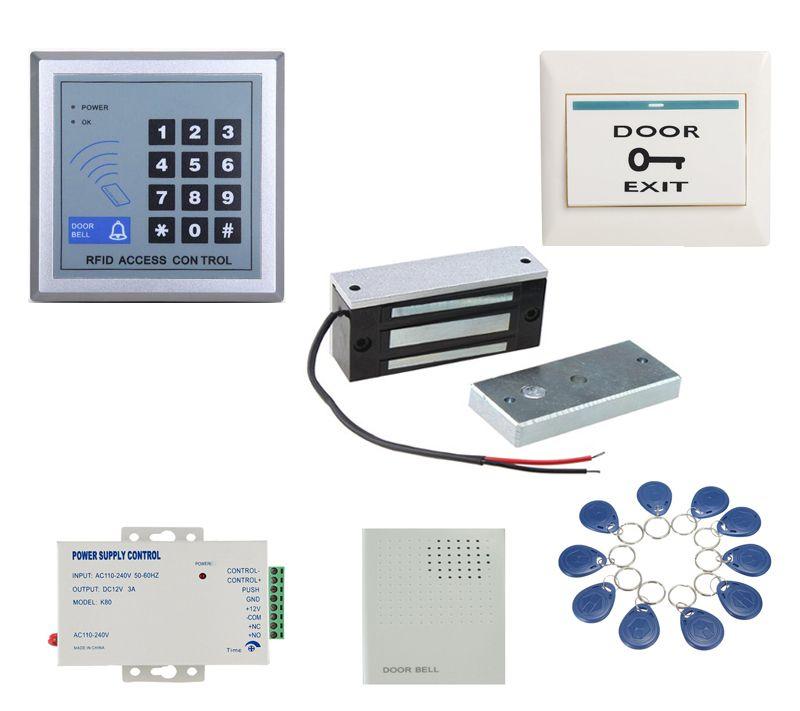 60 Kg 12 V En Bois Porte Porte Electrique Serrure Magnetique Clavier Rfid Porte Systeme De Controle D Acces Kit Avec 10 Tags Electronica