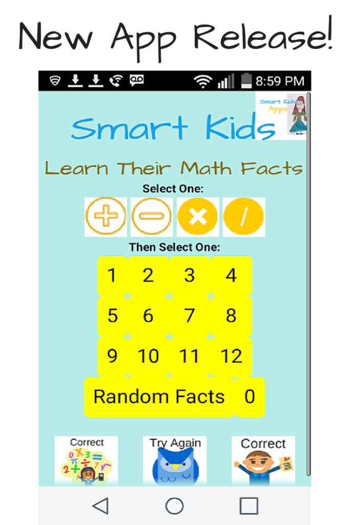 New App Release: Smart Kids Learn Their Math Facts | Math facts ...