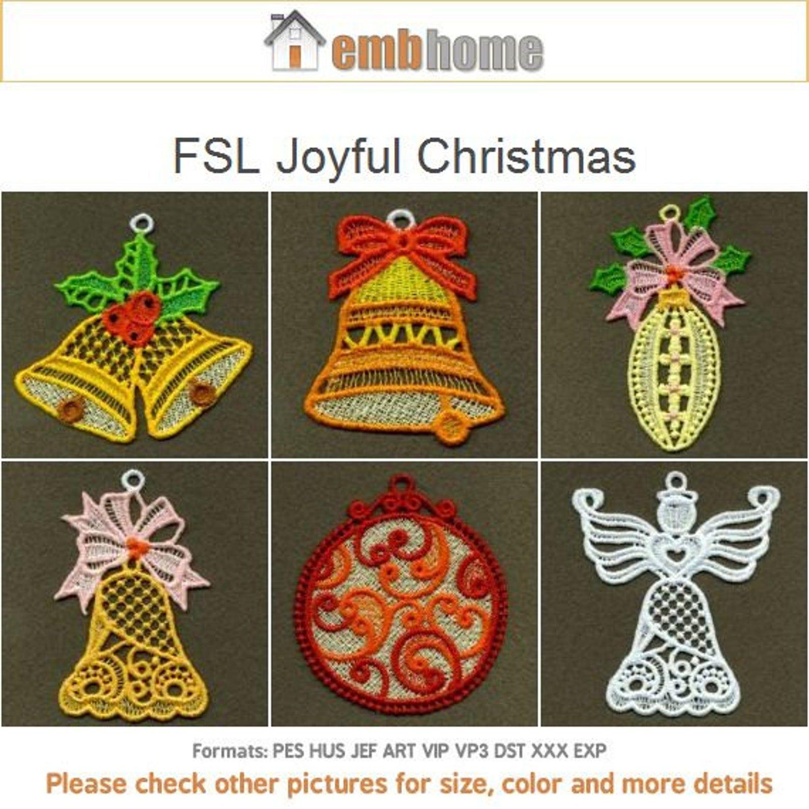 FSL Joyful Christmas Free Standing Lace Machine Embroidery