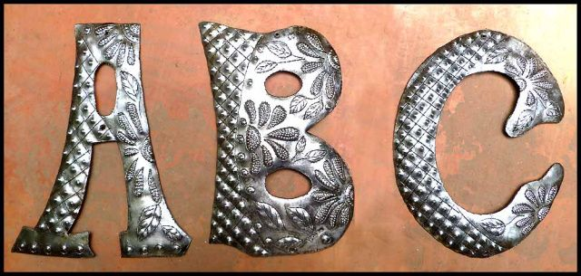 Decorative Metal Wall Initials Awesome Metal Letters  Initials  Haitian Recycled Steel Drum  5 Decorating Inspiration