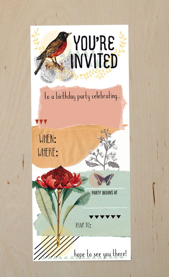 Diy printable nature collage birthday party invitation want diy printable nature collage birthday party invitation stopboris Gallery