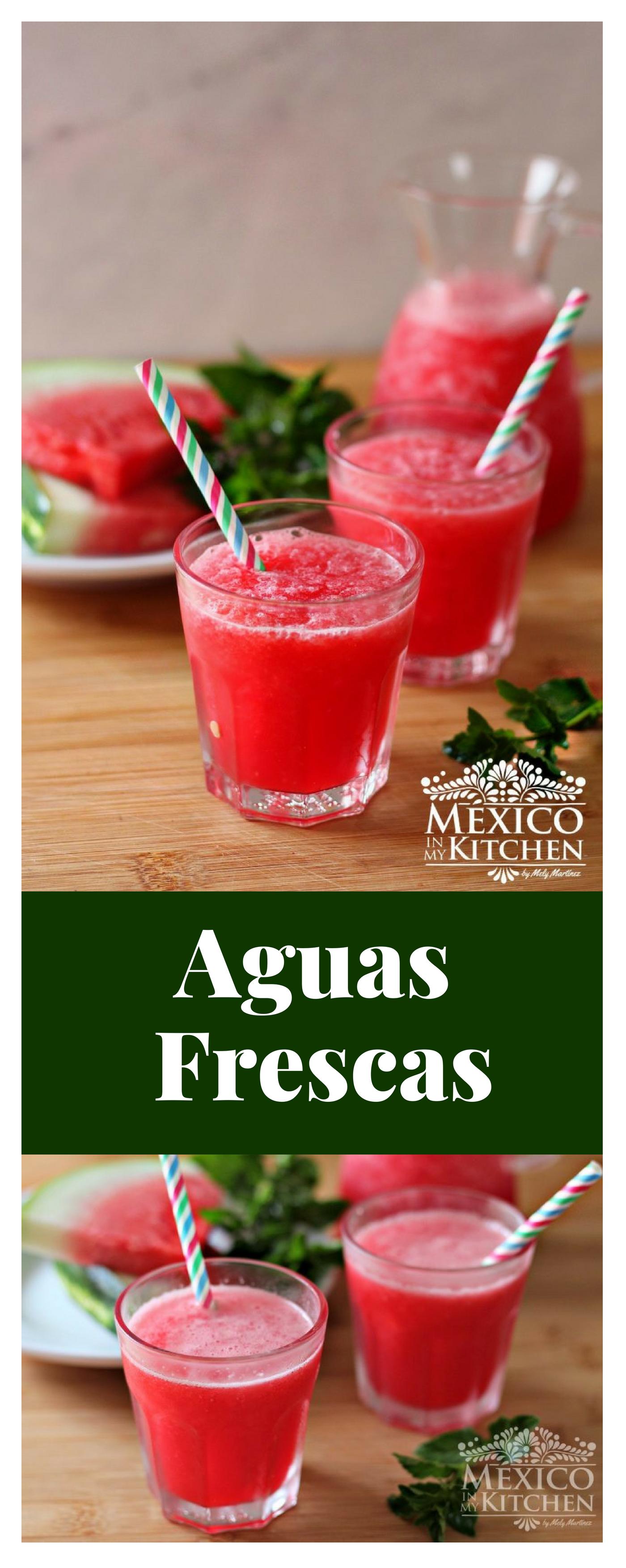Aguas Frescas Pineapple Watermelon And Cantaloupe Drinks Enjoy Recipe Agua Fresca Fruit Drinks Mexican Food Recipes
