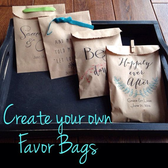 Wedding Take Home Gifts: Custom Wedding Favors, 50 Cookie Bags, Recycled Brown