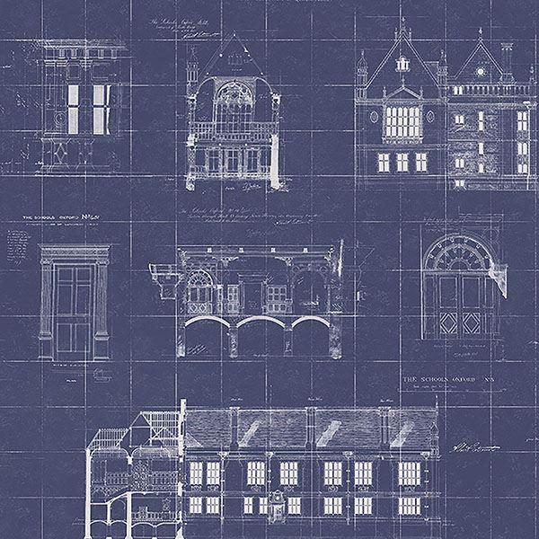 Estcourt Navy Blueprint Wallpaper Architecture