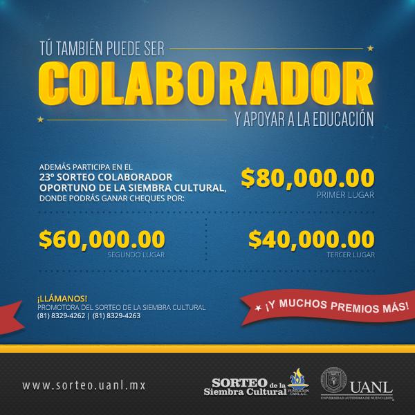 Conoce los premios que podrás ganar al ser parte del equipo colaborador. http://www.sorteo.uanl.mx/colaboradores/beneficios/