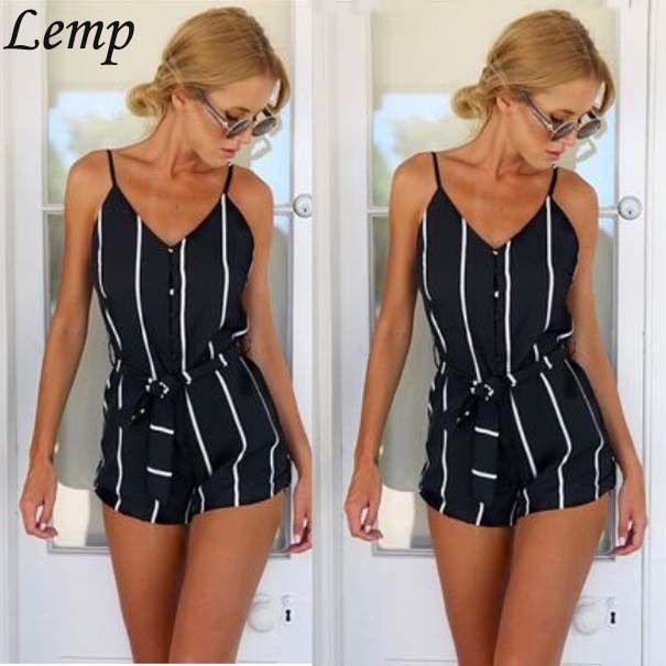 women fashion jumpsuit 2015 summer sexy rompers womens short jumpsuit plus size black/white striped clothes with belt