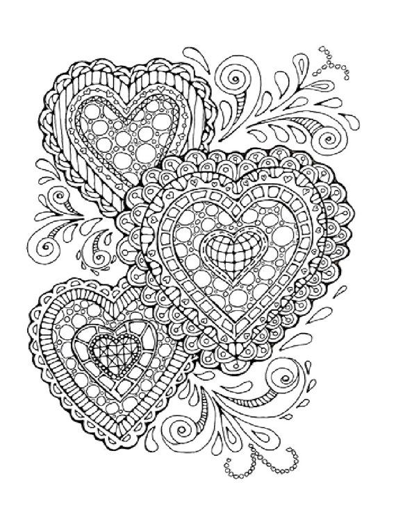 Zentangle Inspired Printable Coloring Page Hearts and Flowers | Etsy | 738x570