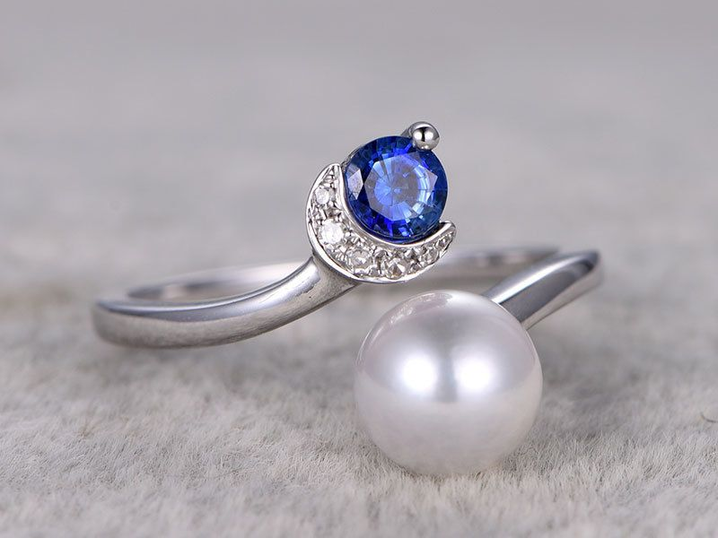 Diamond and pearl ring sapphire engagement ring 7mm south