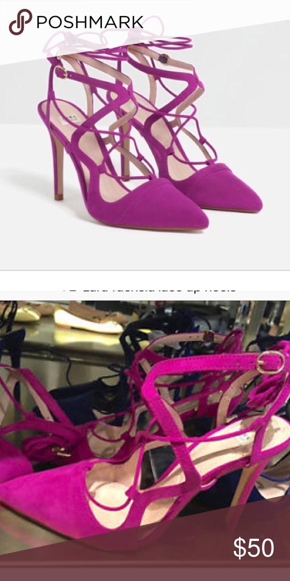 fb930c0e691 Zara fuchsia lace up heels Brand new - size 8 Zara Shoes Heels | My ...