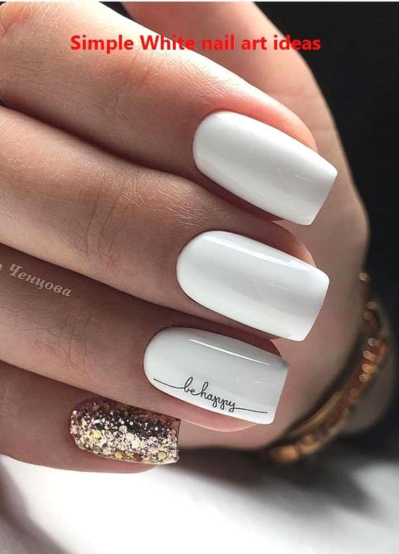 30 Simple Trending White Nail Design Ideas 1 Whitenailart Nailideas In 2020 Square Nail Designs Short Square Nails French Manicure Nails