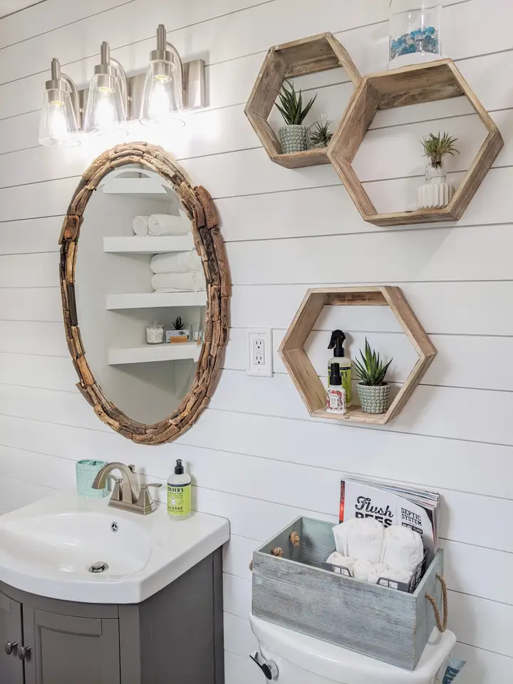 Coastal Cottage Bathroom Decor Hexagon Shelves Host Living Plants In Unique Planters To Bring In 2020 Shiplap Bathroom Cottage Bathroom Decor Coastal Cottage Bathroom