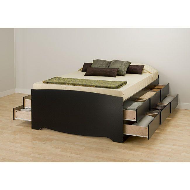 Black Queen 12 Drawer Captain S Platform Storage Bed Queen Bed