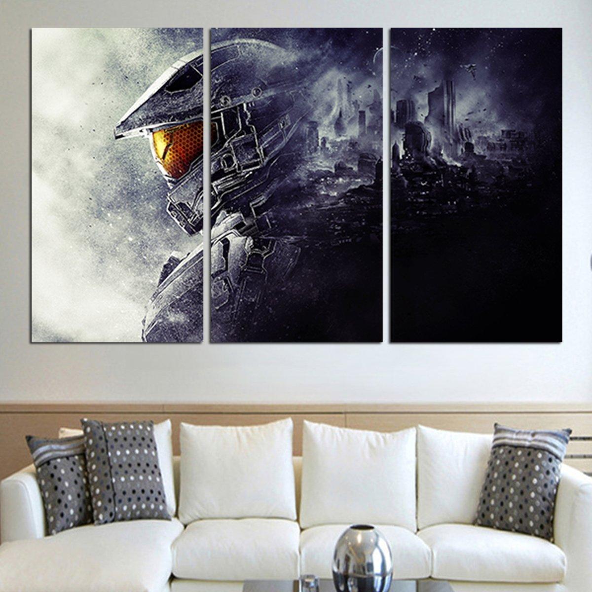 3 Panel Master Chief Halo 5 Wall Art Canvas Customized Canvas Art Canvas Wall Art Canvas Art