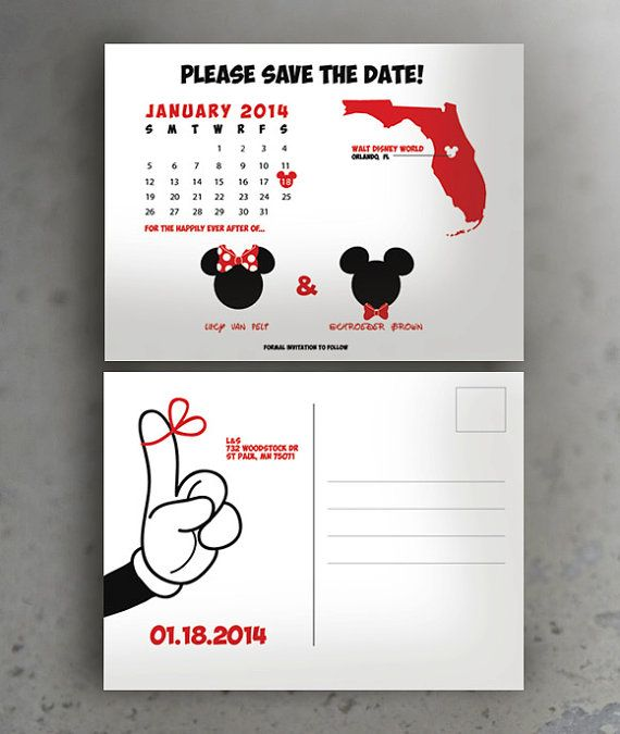 Disney Save The Date Post Card Mickey Theme By Sheepsmarts On Etsy
