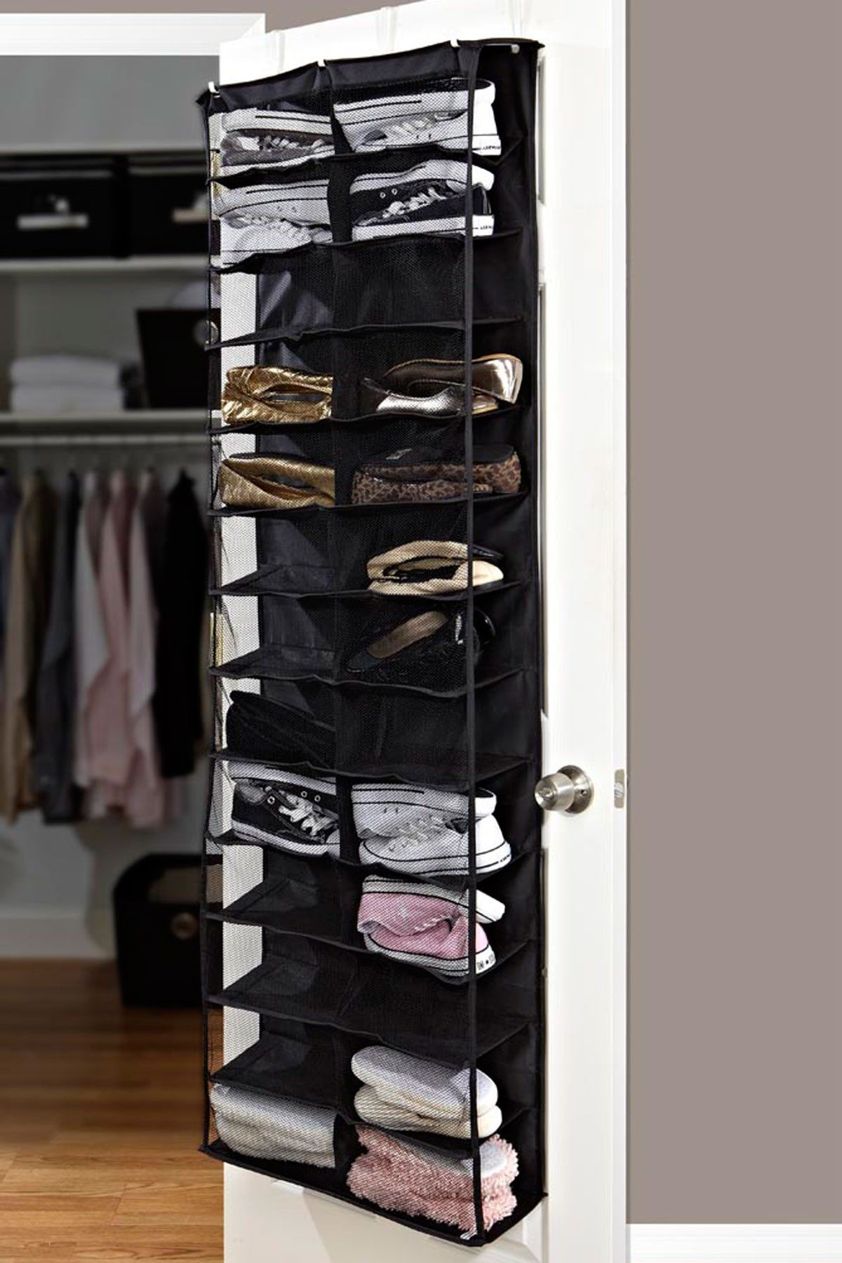 shoes furniture. 26 Pocket Over The Door Shoe Organizer - Black OrganizerHome #Furniture Shoes Furniture
