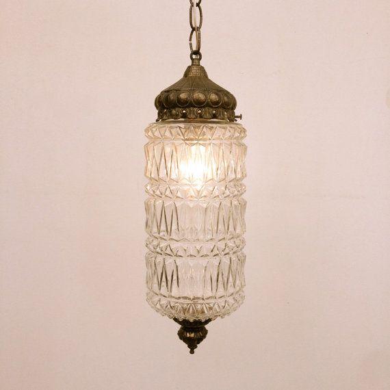 Vintage swag lamp, Pressed Glass, Hollywood Regency Art Deco